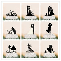 Wholesale Wedding Topper Silhouette - Free Shipping Wedding Decors Gold Silver Mr and Mrs Acrylic Cake Topper Silhouette Groom and Bride Black