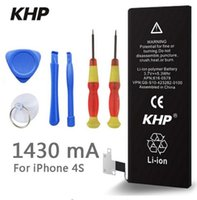 Wholesale Iphone 4s Backup - 2017 New KHP 100% Original Phone Battery For iPhone 4S Real Capacity 1430mAh With Tools Kit Sticker Backup Replacement Battery