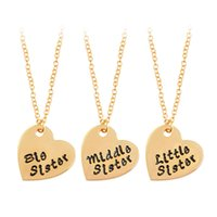 Wholesale friends sweater - 3 pcs set Big Middle Little Sister Heart shaped Pendant Necklace Gold Silver Letters Sweater Chain For Women Friend Jewelry