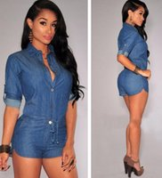 Wholesale One Piece Romper Woman - 2016 New Arrival Sexy Women's Night Club One-Piece New Fashion Jeans Sexy Women Jumpsuit Romper Denim Nightclub Romper Pant