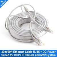 Wholesale Dc Lan - CCTV Network Lan Cable CAT5 CAT-5e 30M 100ft Ethernet Cable RJ45 + DC Power For Network Video Recorder NVR IP Cameras Gray