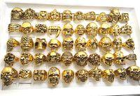 Wholesale Fashoin Jewelry - 50pcs Top Mix Gold Big Skull Skeleton Gothic Rings Men's Biker Punk Rings Wholesale Fashoin Jewelry lots