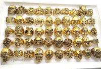 50pcs Top Mix Gold Big Skullon Gothic Rings Мужские байкерские панк-кольца оптом Fashoin Jewelry lots