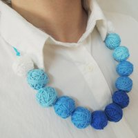 Wholesale Aqua Blue Bead Chain - Fade Blue aqua turquoise fabric necklace handmade necklace cotton for women textile beads light necklace girlfriend gift WN02