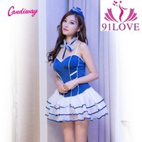 Wholesale Knitted Robe Costume - 91LOVE candiway blue Wedding dress Cosplay porn panties robe sexy club perspective navy Costume princess dress