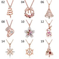 Wholesale Xmas Charms - Fashion Cute Style Christmas Xmas Holidays Cubic Zirconia Pendant Necklaces for women girl multiple styles mixed order NL180