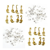Wholesale Diy Gold End Crimps - 100pcs lot Silver Gold Plated Metal Crimp End Bead Caps For DIY Jewelry Making Necklaces 1.5mm
