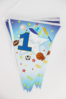 sport pennants - Kids Boy Happy Birthday Party Decoration Kids Supplies Favors Sports Boy Paper Pennant Banner Flags Pack Length cm