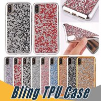 Para iPhone X Diamond Luxo Bling Rhinestone Glitter Soft TPU Phone Case para iPhone 8 7 6 6S 5 Plus Samsung S8 Plus
