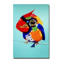 ingrosso uccelli d'arte della parete di tela-Cute Birds Pittura Per Soggiorno Decorazione Dipinto A Mano Pittura A Olio Moderna su Tela Animal Art Pittura Murale Decorativo Senza Cornice