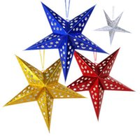 Wholesale 60CM Star Christmas decorations Three dimensional laser pentagram Bar ceiling decoration Ornaments Star Four Color Product Code