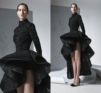 Wholesale two pieces asymmetrical prom dress resale online - Ashi Studio Georges Amazing Detail Black High Low Long Sleeve Prom Formal Dresses Middle East Dubai Arabic Occasion Dress Evening Wear