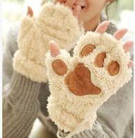 Wholesale bear fingers resale online - Claw Paw Plush Mittens Short Fingerless Half Finger Gloves Bear Cat Plush Paw Claw Half Finger Glove Soft Half Cover Gloves MOQ pairs