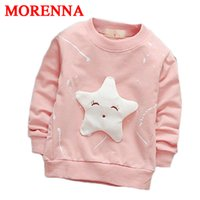 Wholesale Face Cotton Rounds - MORENNA 2017 Children Boy's Cartoon Long Sleeved T-shirt All-match Fashion Jacket Smile Face Star Kids Clothing Baby Girl Clothes
