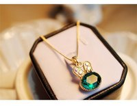 New Fashion Sea Green Rabbit Control Drilling Cute Rabbit Cristal Clavícula Colar Pingente Jóias Lady Gift