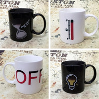 Wholesale Ceramic Bone China Mugs - Battery Color-Changing Mugs Magic Cup Ceramic Temperature Induction Mugs Change Colour Coffee Cups Creative Ceramic Mugs IA858
