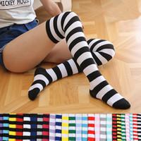sobre joelho meias cosplay venda por atacado-Multicolor Meninas striping over-the-knee meias 60 cm cheer time futebol meias para festivais desempenho do partido cosplay adereços para adolescente adulto