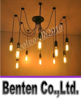 Wholesale Design Vintage Bulbs - Edison Design Pendant Light Edison Vintage Spider Chandelier pedant Lamp, Edison Chandeliers 12pcs American Style Led Bulbs LLFA11