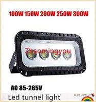 luz de inundación ip67 al por mayor-Luz de túnel led 100W 150W 200W 250W 300W Iluminación de paisaje con reflector de Led Iluminación impermeable al aire libre Fondo de luz de inundación Lámpara de pared AC 85-265V