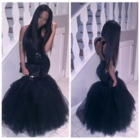 2017 Sexy Slim Black Girl Mermaid African Prom Dresses Плюс Размер Длинные Sequined Keyhole Back Formal Gowns Cheap Party Homecoming Dress