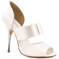 beyaz çizgili akşamlık ayakkabısı toptan satış-Beyaz Saten Düğün Ayakkabı Açık Toe Stiletto Topuk Pompa Kadın Sandalet Slip-ons Platformu Taklidi Topuk Akşam Parti Dans Ayakkabı