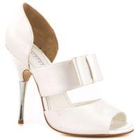 Wholesale Women Straps Ons - White Satin Wedding Shoes Open Toe Stiletto Heel Pump Women Sandals Slip-ons Platform Rhinestone Heel Evening Party Dancing Shoe