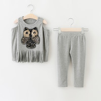 Wholesale Owl Shirts Girls - Christmas Babies Autumn Outfits Sequined Owl Off-shoulder T-shirts with Casual Cotton Pants 2016 Children's Fashion Cartoon Sets