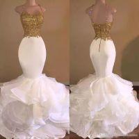 Wholesale Knee Length Mermaid Skirt - 2017 Aso Ebi Sexy Gold White Ruffles Lace Mermaid Prom Dresses Spaghetti-Strap Sweetheart Sleeveless Tiers Skirt Evening Dresses 2018