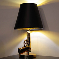 Wholesale Table Lamp Bedroom Led - L29-Novelty Resin Electroplate Gold Silvery E27 Gun Talbe Lights Modern Bedroom Table Lamp Pistol Desk Lamp for Home Lighting