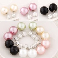 Wholesale Earings Diamond Silver - Double sided pearl crystal diamond earrings silver plated candy ball Stud Earrings statement fashion jewelry c earings for women