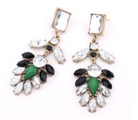 Wholesale Green Dinner Plates - Hot Sale Spring Summer Earring European Fashion Jewelry BlingBling Crystal Black Green Rhinestone Earrings Women Dinner Dresses Accessories