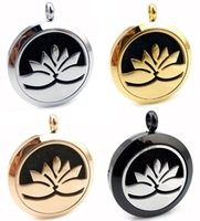 Wholesale gold lotus necklace - With Chain Round Silver Gold Lotus (20mm-30mm) Essential Oils Stainless Steel Necklace Perfume Diffuser Aromatherapy Lockets Necklace