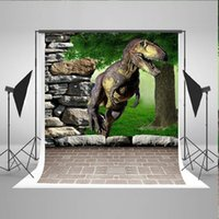 Wholesale Background Muslin Kit - 5x6.5f Baby Photography Background brick floor dinosaur backdrops stone green forest photo kate backdrop for photography kit S-2020