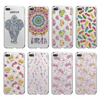 Wholesale Tower Mobile Cover - Transparent TPU Cover For iPhone 5 6 7 8 Plus Case Fashion Crown Tower Slippers Keys Cute Nnicorn Design Mobile Phone Sets