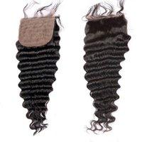 Wholesale Deep Wave Top Base Closure - Top Silk Base Closure Brazilian Hair Deep Wave Free Middle 3 Part Silk Base Closures With Baby Hair Silk Top Closures