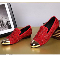 New Arrival Fashion G Z Rhinestone Chaussures Casual Rouge / Noir / Or Crystal Oxfords Hommes et Femmes Robes plates Mariage Party