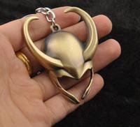 Wholesale Loki Keychain - Marvel Super Hero Loki Helmet Figure Keychain Thor comic marvel the avengers metal key chain key rings men's gift