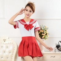 Wholesale Sailor Girl Fancy Dress - Wholesale-Japanese School Girl Uniform Dress T-Shirt + Mini Skirt Outfit Sailor Sailor Cosplay Holiday Costume Fancy Anime