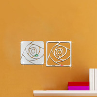 Wholesale Sticker Plastic Roses Flower - Rose three-dimensional crystal mirror wall stickers TV wall sofa background Romantic Flower new 2016 European and American fashion