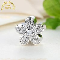 Wholesale Pave Flower - Pave Clear CZ Daisy Charms Fits Europe Bracelets Authentic 925 Sterling Silver Flower Daisy Charm Diy for Women Make Up Jewelry