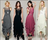 Wholesale Free People Summer - Hot Fashion Womens Hollow Full Lace Party Evening Casual Prom Elegant Maxi Slim Long Sheer Ball Gown Beach Dress free People Lace dress