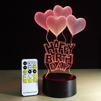 Wholesale Wedding Screens - Happy Birthday with Heart Frame Touch Screen 3D illusion took toy flash light in via DHL box free shipping