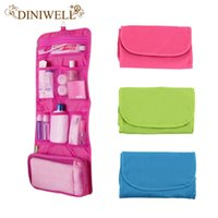 Wholesale Womens Hanging Toiletry Bag - Wholesale- DINIWELL Womens Ladies Travel Toiletry Folding Hanging Wash Cosmetic Makeup Storage Bag Portable Organizer For Outdoor Camping