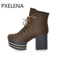 Wholesale Goth Wedge Shoes - Hot sale Hot Novelty Designer Hot Woman Chunky Block High Heel Thick Platform Creepers Lace Up Punk Goth Ankle Boots Shoes Female