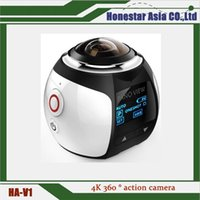 Wholesale New Camping Products - New products V1 360 degree action camera panoramic sports camera mini 3D wifi sports DV 4K full HD 30m waterproof outdoor DVR recorder