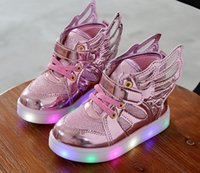 Wholesale Korean Cartoon Shoe - 2016 New Autumn Korean Children's Shoes Angel wings Kids Boys Children's Led Light shoes colorful Cartoon fashion shoes CC763
