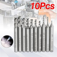 Wholesale Milling Cutter 6mm - 10pcs 1.5-6mm HSS 4 Flute End Mill Cutter 6mm Straight Shank CNC Drill Bit Set