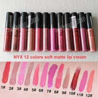 Wholesale Concealer Lipstick - NYX cosmetics Liquid 12 colors Soft Matte Lip Cream Lipstick Charming Long-lasting Daily Party Brand Glossy Makeup lipgloss DHL free