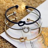 encantos de cobre para pulsera al por mayor-Nueva moda diseño original simple cobre fundición nudo amor pulsera abierta brazalete regalo para las mujeres regalo pulseras del encanto joyería de la boda