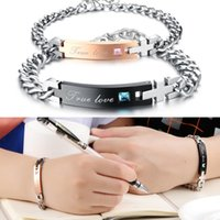 titanium stainless steel chain Canada - 8 Styles His and Hers Titanium Stainless Steel Chain Matching Set Bracelet for Couple Anniversary Gift Support FBA Drop Shipping D171S